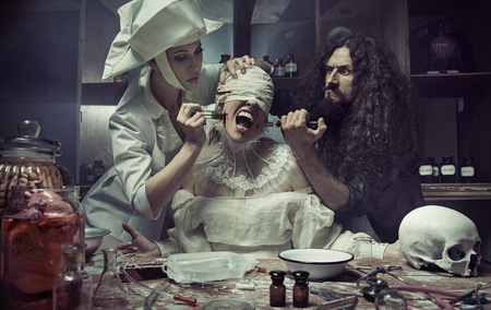 Plastic surgery in the old abandoned hospital Stock Photo