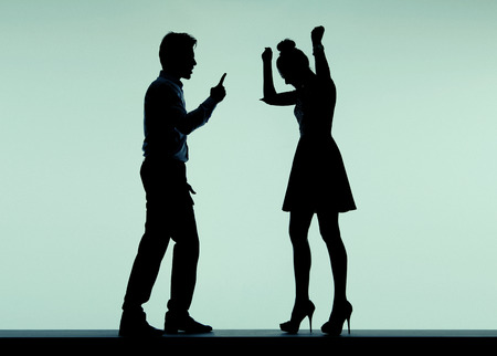 relationship problem: Arguing young couple in the bad mood Stock Photo