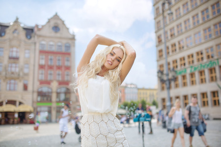 Portrait of the attractive blond woman photo