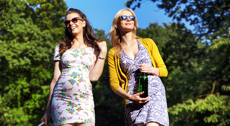 Couple of attractive girlfriends on the walk in the park photo