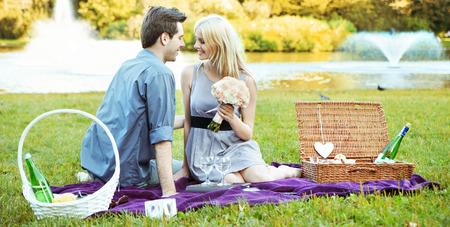 Romantic date on the purple blanket photo