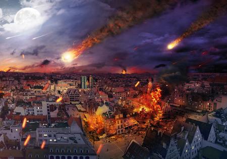 Apokalypse von einem riesigen Meteoriten verursacht