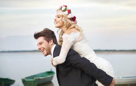 Gelukkig man met zijn lieve vrouw