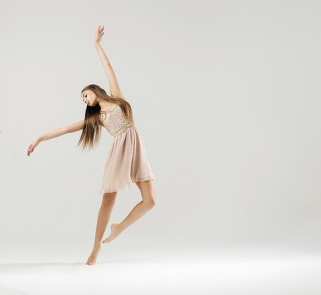 performed: Art dance performed by the young ballet dancer Stock Photo