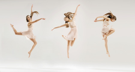 dances: Multiple picture of the young ballet dancer