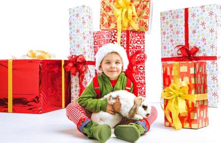 Cute little elf holding a bunny photo