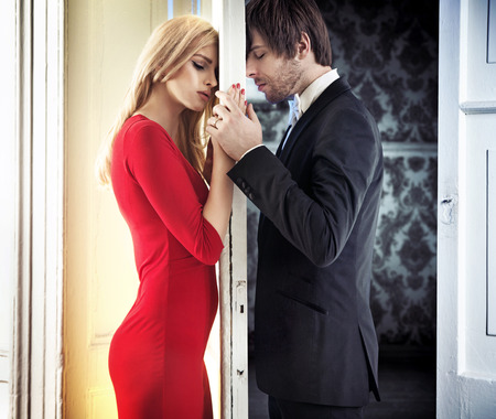 Young attractive couple in romantic mood