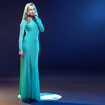 fascination: Calm and smart lady in fashionable evening gown