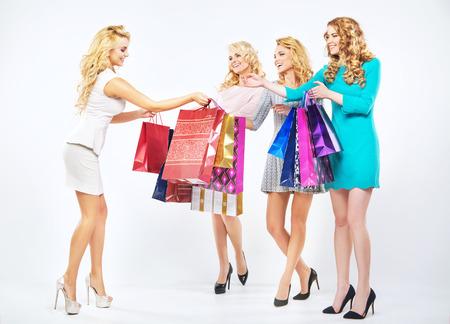 Four beautiful women enjoying the shopping photo