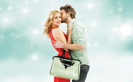 beloved: Handsome man kissing his beloved wife