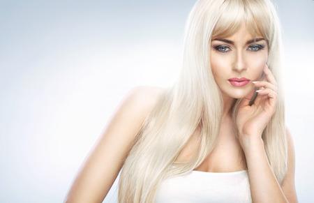 Closeup portrait of an adorable blond lady photo