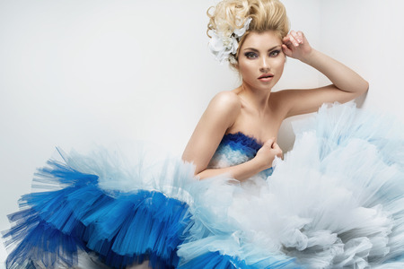 fashion models: Closeup portrait of a young beautiful woman Stock Photo
