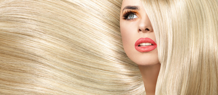 blond hair: Portrait of the woman with straight and bushy coiffure Stock Photo
