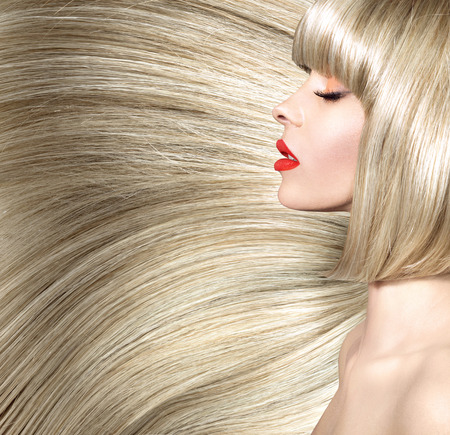 Fine shot of a lady with bushy coiffure Stock Photo