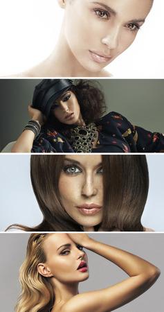 Multiple portrait of four attractive women photo