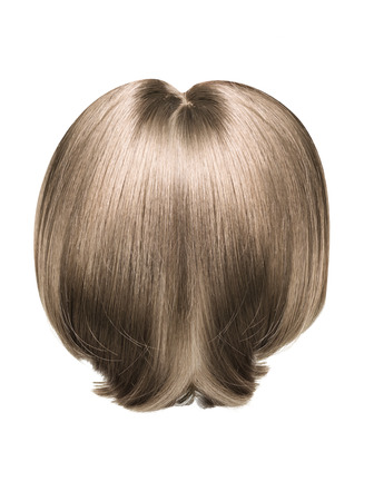 blonde streaks: Picture presenting a brown, straight hairpiece