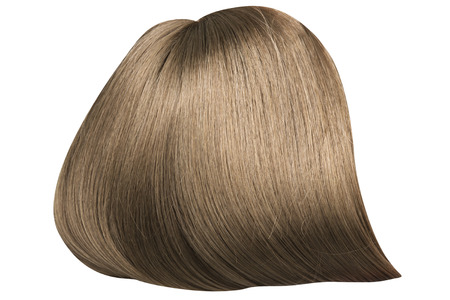 blonde streaks: Brown, dense and straight wig Stock Photo
