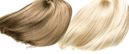 blond streaks: Picture presetning two straight, dense hairpieces