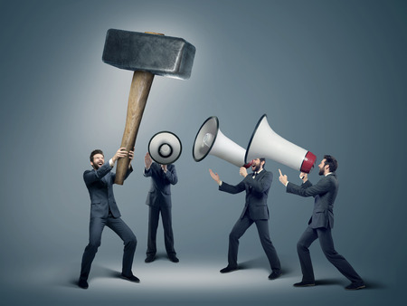 opportunity discovery: Many businessmen with huge loudspeakers