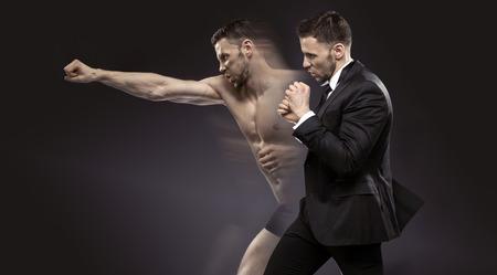 koncepční portrét dvojí chlapa Reklamní fotografie