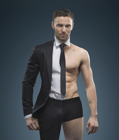 Portrait of the handsome muscular businessman 版權商用圖片