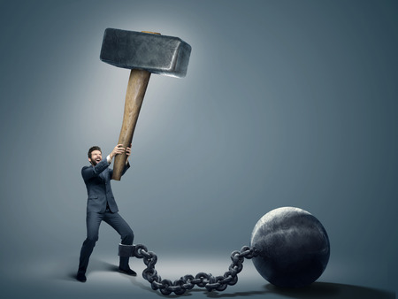 Conceptual image of an employee trying to quit a job