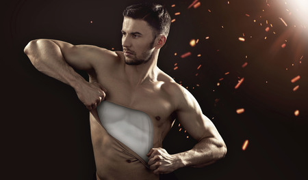 Human mannequin pulling his chest skin away