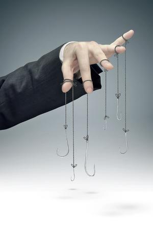 conceptual picture of the corporate manipulation Foto de archivo