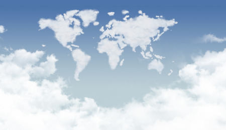 world thinking: Bright dense clouds in the world shape Stock Photo