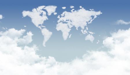 Bright dense clouds in the world shape 版權商用圖片