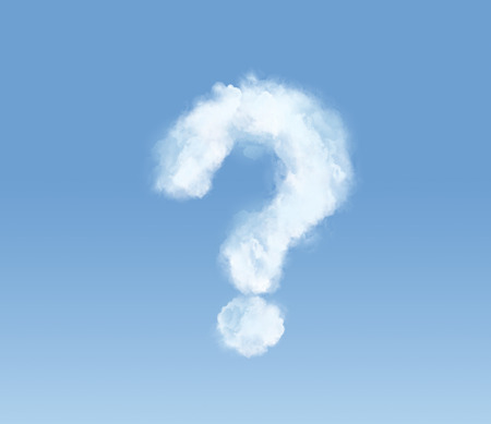 cloud background: Flossy cloud in the form of a question mark