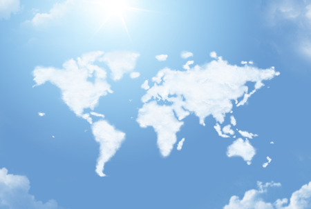 geography map: Fluffy cloud in the shape of the world map Stock Photo