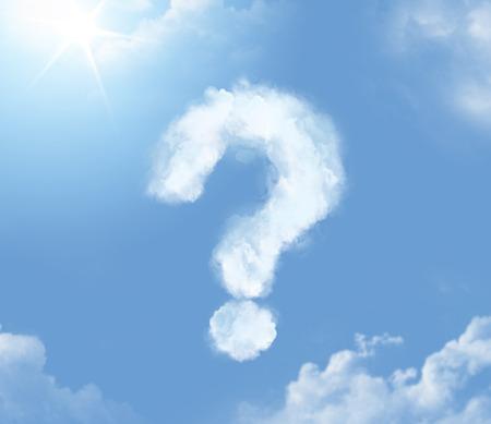 signo pregunta: Cloudlet Flossy en forma de signo de interrogación Foto de archivo