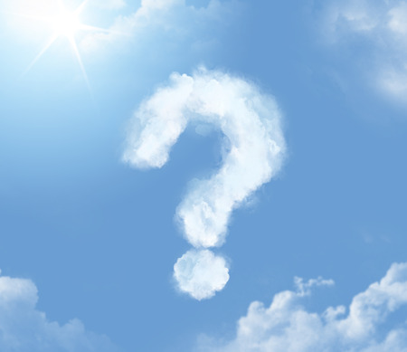 punto interrogativo: nuvoletta flossy sotto forma di punto interrogativo Archivio Fotografico