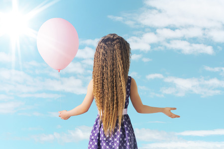 preteens girl: Little girl and the pink balloon