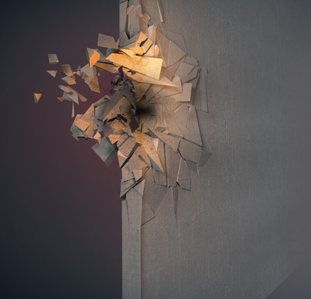 smashed: Image of crushed concrete wall