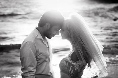 Zwart-wit portret van aantrekkelijke jonggehuwden Stockfoto