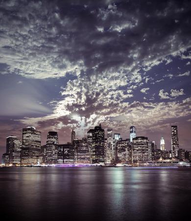night views: Fine New York City Manhattan view Stock Photo