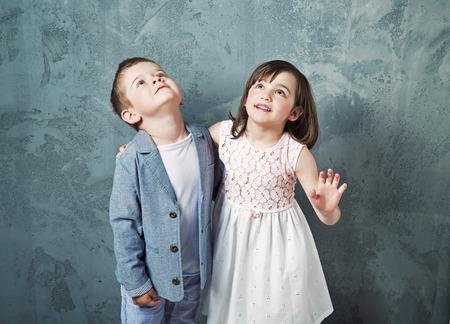 innocent girl: Portrait of cheerful, innocent chlidren