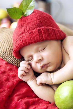bebes recien nacidos: Ni�o peque�o y lindo durante una siesta corta