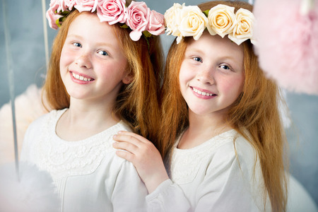 twin sister: Two little redhead twin sisters together