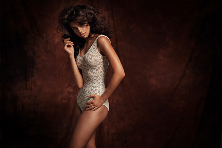 sensual: Sensual young woman wearing lingerie