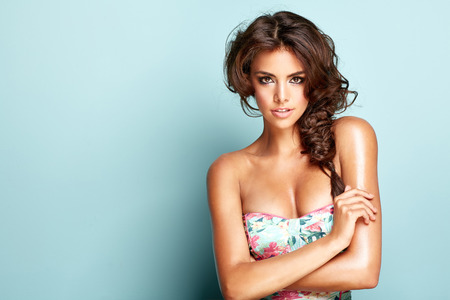 underwear girl: Portrait of a smilling brunette woman Stock Photo