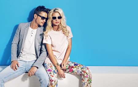 Fashionable picture of young attractive people. Stock Photo
