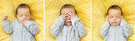 neonate: Multiple photo of a newborn child