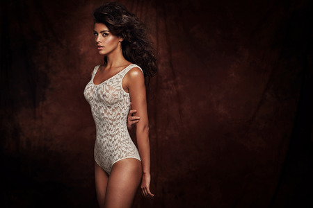 Brunette woman wearing sexy lingerie