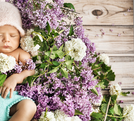 flowers boy: Cute child sleeping on the colorful chaplet