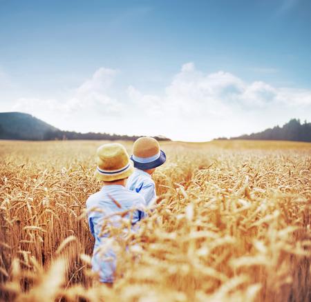 campo de flores: Dos hermanos entre campos de cereales Foto de archivo