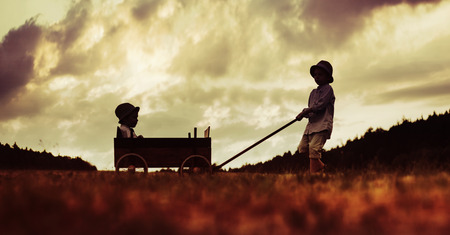kids outside: Two cute brothers playing with the wooden carriage