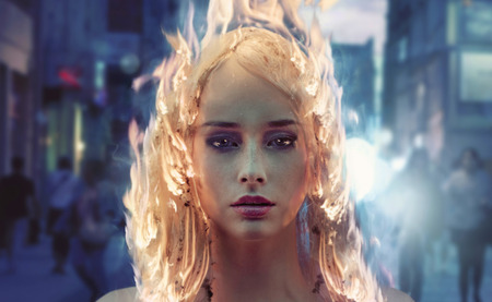 Young woman with burning coiffure